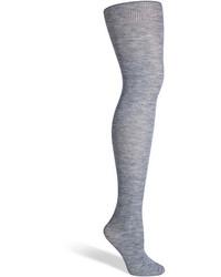Fogal Grey Heather Wool Silk Cashmere Nepal Tights