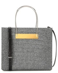 Cable shopper small embossed wool and leather tote medium 842540