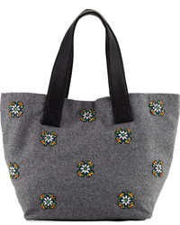 Neiman Marcus Large Crystal Embellished Wool Tote Bag Gray