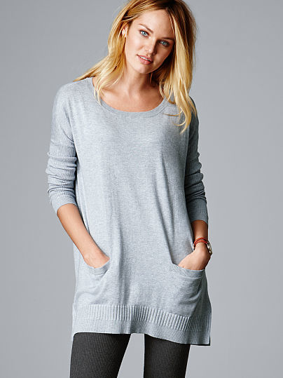 Victoria's Secret A Kiss Of Cashmere Two Pocket Tunic Sweater ...