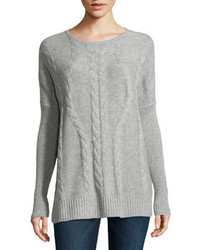 Neiman Marcus Cashmere Cable Knit Tunic Heather Gray