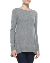 Neiman Marcus Cashmere Collection Exposed Seam Hi Low Cashmere Tunic