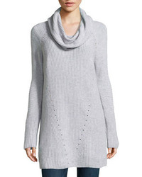 Neiman Marcus Cashmere Ribbed Cowl Neck Tunic Heather Gray