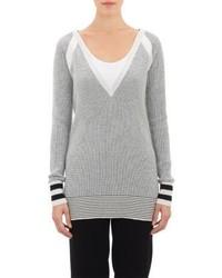 Mpatmos Thermal Stitch V Neck Tunic Sweater