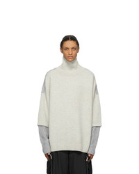 JERIH Grey Two Tone Wool Turtleneck