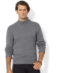 Polo Ralph Lauren High Twist Cotton Buttoned Mockneck Sweater