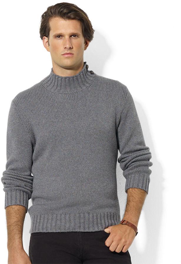 ... Polo Ralph Lauren High Twist Cotton Buttoned Mockneck Sweater