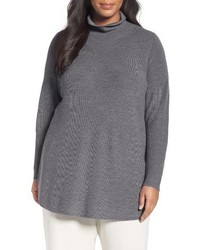 Plus size fine rib merino turtleneck tunic medium 1125470
