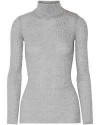 Balmain Ribbed Wool Turtleneck Sweater Light Gray