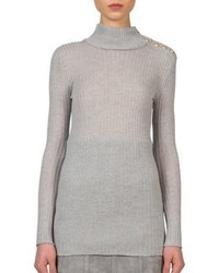 Balmain Ribbed Wool Turtleneck Sweater