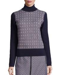 Tory Burch Sabino Jacquard Turtleneck Sweater