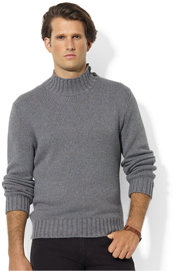 Polo Ralph Lauren Sweater Buttoned Mock Neck High Twist Cotton ...