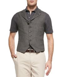 Brunello Cucinelli 6 Button Wool Waistcoat Gray