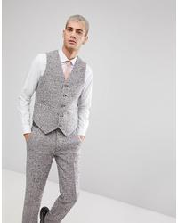 ASOS DESIGN Asos Skinny Suit Waistcoat In Pink Flecked Wool Blend