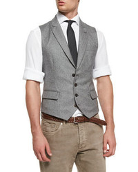 Brunello Cucinelli Chevron Four Button Wool Waistcoat Gray