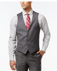 Bar III Mid Grey Slim Fit Pindot Vest