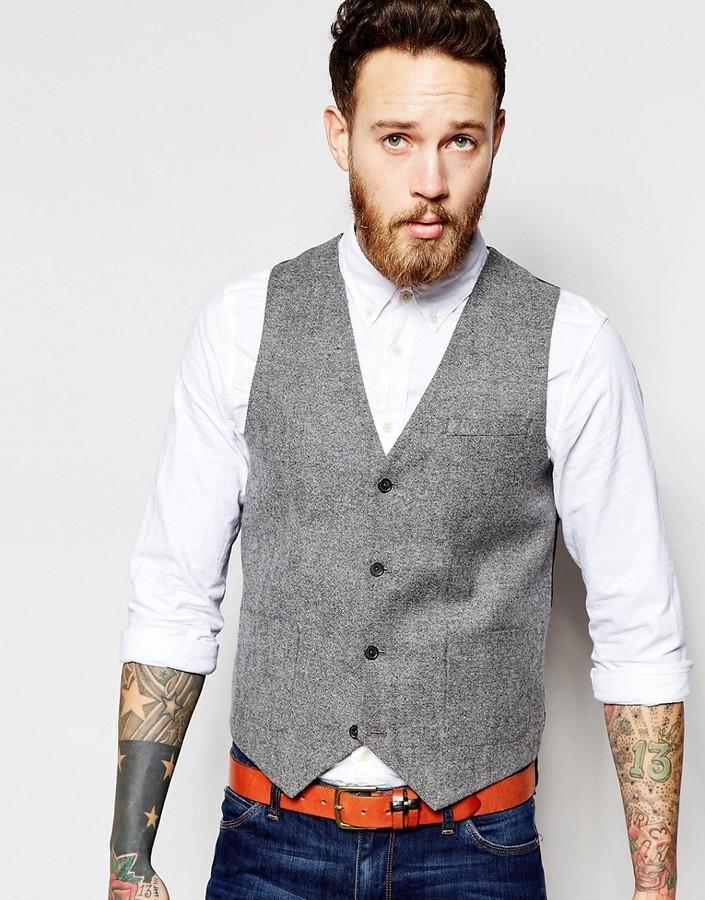 Asos Slim Vest In Tweed