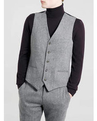 Topman Grey Tweed Suit Waistcoat