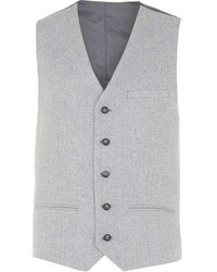 Topman Grey Wool Rich Vest