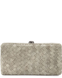 Neiman Marcus Woven Reptile Faux Leather Clutch Bag Light Gray