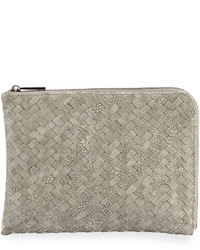 Neiman Marcus Woven Reptile Faux Leather Pouch Gray