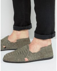 Asos Woven Sandals In Gray Suede