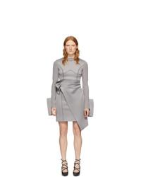 Off-White Grey Jersey Wrap Dress