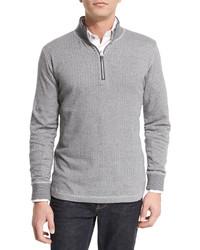 Robert Graham Alastor Chevron Print Half Zip Sweater Heather Gray