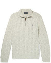 Polo Ralph Lauren Cable Knit Silk Half Zip Sweater
