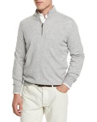 Brunello Cucinelli Cashmere Quarter Zip Pullover Sweater Light Gray