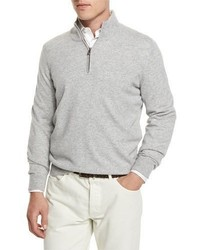 Brunello Cucinelli Cashmere Quarter Zip Pullover Sweater Light Gray