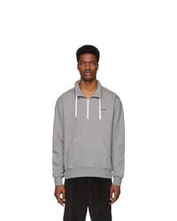 AMI Alexandre Mattiussi Grey Ami Paris Patch Half Zipped Sweatshirt
