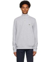 Lacoste Grey Cotton Quarter Zip Sweatshirt