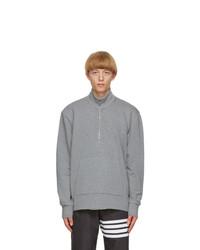 Thom Browne Grey Intarsia 4 Bar Sweatshirt