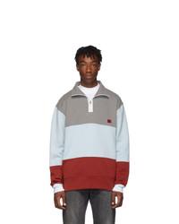 Acne Studios Grey Melange And Red Flint Flag Face Zip Sweatshirt