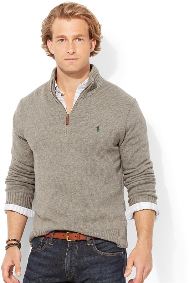 Polo Ralph Lauren High Twist Cotton Half Zip Mockneck Sweater ...