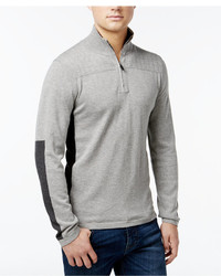 DKNY Jeans Quarter Zip Placket Quilted Shoulder Sweater