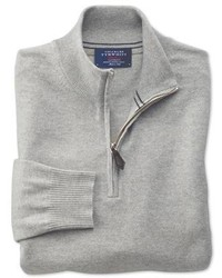 Charles Tyrwhitt Light Grey Cotton Cashmere Zip Neck Sweater