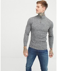 ASOS DESIGN Muscle Fit Ribbed Half Zip Jumper In Grey Twist