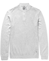 Hugo Boss Textured Knit Cotton Half Zip Sweater