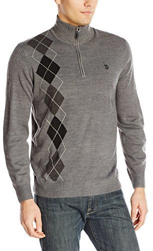 6ab9856a7 ... U.S. Polo Assn. Asymmetric Argyle Half Zip Sweater