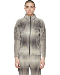 Homme Plissé Issey Miyake Beige Striped Hologram Sweater