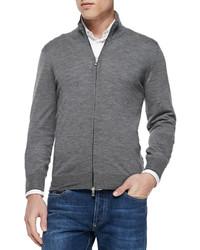 Fine gauge full zip sweater gray medium 331873