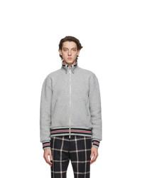 Thom Browne Grey Wool Pique Funnel Zip Up Jacket