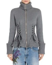 Alexander McQueen Lace Up Wool Zip Up Cardigan