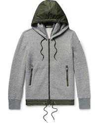Slim fit nylon trimmed cotton blend jersey zip up sweatshirt medium 4948224