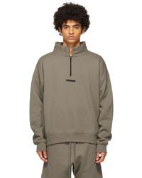 Essentials Taupe Mock Neck Half Zip Sweatshirt