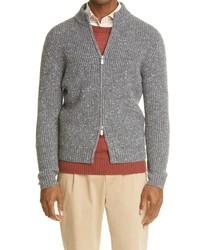 Eleventy Wool Cashmere Zip Cardigan