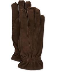 Guantes de ante en marrón oscuro de Brunello Cucinelli