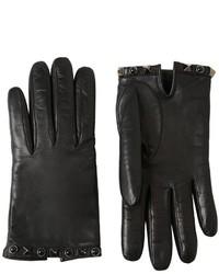 Guantes de cuero con tachuelas negros de Valentino